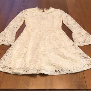 Cream lace dress with rose gold zipper